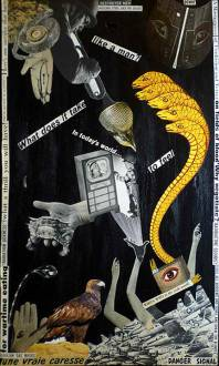 WHAT DOES IT TAKE IN TODAY'S WORLD TO FEEL LIKE A MAN: Collage on wood, $200