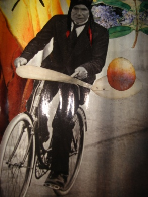 APACHE, SUR UN VELO, ALLANT AU MONDE DES OEUFS (DETAIL): Collaged lamp box with hollowed egg frame and curtains, $450