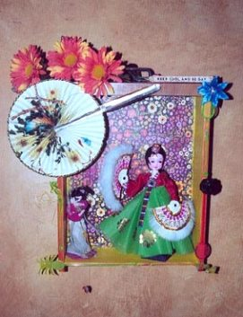 KEEP COOL AND BE GAY: Kitchen cabinet kitsch with Asian doll and swizzle stick motif, SOLD