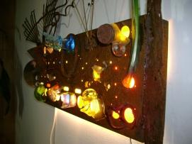 NO DEPOSIT NO RETURN: Metal Neon Lamp, Vase and Incense Burner, SOLD