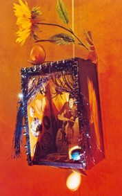 APACHE, SUR UN VELO, ALLANT AU MONDE DES OEUFS: Collaged lamp box with hollowed egg frame and curtains, $700