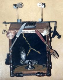 INQUIETUDE EXTREME: Wood box with antique accoutrements, collage and oil paint. A universal transmitter, SOLD