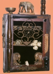 QUEEN MAYA'S DREAM: A lamp with 8 elephants representing the mother of Buddha and the 8-fold path, SOLD