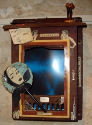 SATELLITE SOMNIFERUM: Parisian circuit box with 1950s collage about the opiated masses, $700